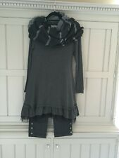 Myrine and Me Grey Tunic Dress with Black Netting Hemline