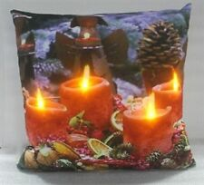 LED LIGHT UP CHRISTMAS ADVENT CANDLE CUSHION- FACTORY SEALED - C -3006 XMAS