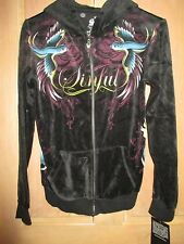 NEW Sinful by AFFLICTION M SWEATSHIRT SHIRT TOP HOODY Birds Velour Black Red