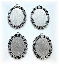 4 Antiqued Silvertone Lace style 40mm x 30mm CAMEO PENDANTS Frames Settings