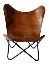 Stevenson Butterfly Chair Iron Stand and Leather Cover Indoor Outdoor Chair