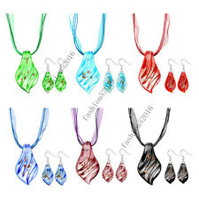 wholesale Lots 6set Leaf Murano glass pendant Silver P necklaces earrings FREE