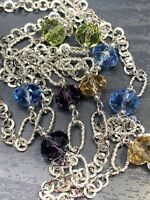 """Vintage Multi Color glass Crystal X Long Glass Beaded Necklace Sweater Style 60"""""""