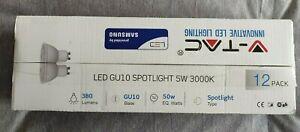 12 X Samsung V-tac LED GU10 Spotlight 5W 3000K