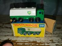 "Vtg Matchbox No.32 Leyland ""BP"" Petrol Tanker in Original Box(rare chrome grill)"