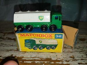 "Vtg Matchbox No.32 Leyland ""BP"" Petrol Tanker in Original Box(rare chrome grill)"