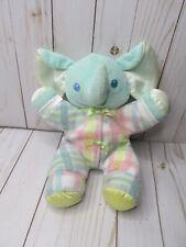 "HH Playskool Snuzzles green elephant lovey plush stuffed animal 1996 vintage 11"""