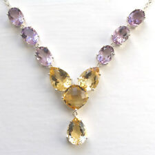 Statement Amethyst & Citrine Necklace set in Sterling Silver
