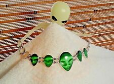 Designer Alien UFO Sterling Silver 925 & Green Cats Eye 5-Head Bracelet Wellmade