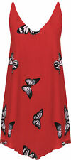 Plus SizeWomen Butterfly Print Chiffon Lined Sleeveless Ladies DIP Hem Vest Top Black 26-28