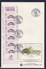 grande enveloppe 1er jour  journée du timbre  bande carnet   ; 1989