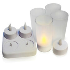 4pcs LED Tea Lamp Candles Plastic Rechargeable Tealight Flickering Charging Dock
