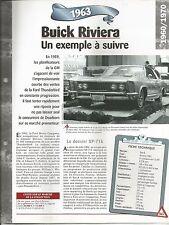 FICHE DESCRIPTIVE - TECHNIQUE - LA BUICK RIVIERA DE 1963