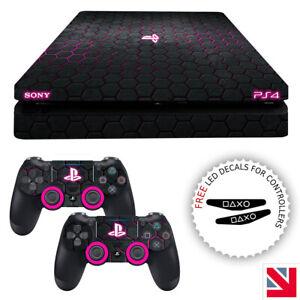 Futuristic Hexagon Pattern PS4 Hot Pink SLIM Skin Decal Vinyl Sticker Wrap