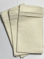 """Vintage 100% linen ivory nappkins 17 1/2"""" x18"""" with cotton satin accent set of 6"""