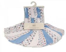 Baby Boys Blue White Flannel Wash Cloths Wipes Towel Bath Shower - 12 Pack