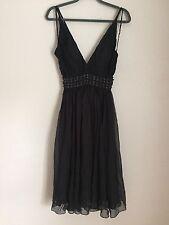 Aurelio Costarella Australia Black  100% Silk Beaded Dress Size 0