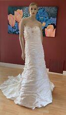 GORGEOUS JUSTIN ALEXANDER WEDDING DRESS #8515 NATURAL STRAPLESS SILK SIZE 14