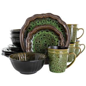 Elama El-Jadewaves Jade Waves 16 Piece Stoneware Dinnerware Set In Green