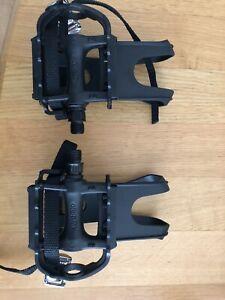 """Wellgo Integral Toe Clip Pedals MT19 L Plastic Black Flat Unused 9/16"""""""