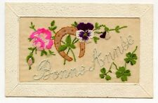 BONNE ANNéE.BRODEE. EMBROIDERED.FER A CHEVAL.TREFLE. HORSESHOE.CLOVER.