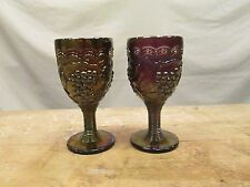 2x Imperial Amethyst Carnival Wine Cordials Glasses Small Goblets Purple Violet