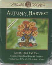 Fall Tree & Cat Counted Cross Stitch Glass Bead Mill Hill