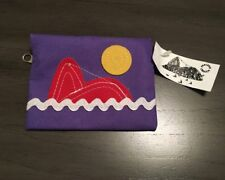 NWT Parceria Carioca Sea Whale Design Purple Coin Purse Wallet ~ Made in Brazil