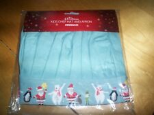 this christmas kids chef hat and apron set 100% cotton NEW