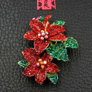 New Betsey Johnson Red Rhinestone Flower Crystal Charm Brooch Pin Gift