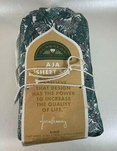Aja Green King Sheet Set - Jungalow by Justina Blakeney - New Damage Packaging