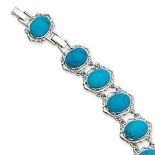 "Jackie Kennedy Blue Howlite Silver-Plated 7"" W/ 1"" Extension Bracelet"