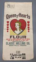 VTG 1920s RARE Queen of Hearts 24LB Flour Sack Clarke Milling Berryville VA AA