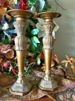 Tall Large Pair of Shabby Chic Pillar Candle Stick Holders