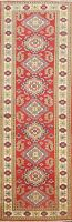 Vegetable Dye Geometric Super Kazak Oriental RED Runner Rug Hand-knotted 2'x7'
