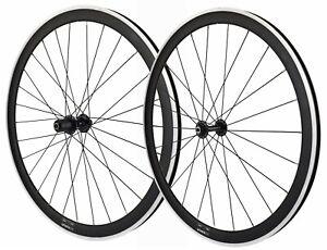 700c wheelsON Road Racing Bike Front Rear Wheels Set 10/11 Speed QR Black 40mm