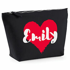 Personalised Make Up Wash Bag HEART ANY NAME Birthday Christmas Gift Present NEW
