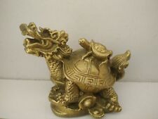 Dragon Turtle Tortoise Statue Figurine Coin Money Wealth Gold copper Feng Shui