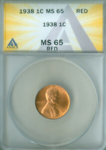 1938 Lincoln Wheat ANACS MS-65 RED FREE S/H (2127371)