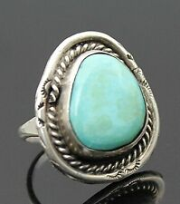 Style Sterling Silver Ring 6.25 Handcrafted Vintage Genuine Turquoise Southwest