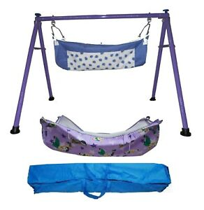 Purple Folding Cradle with two cotton hammocks with mosquito net model KR179
