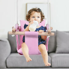Baby Canvas Hanging Swing w/ Cotton Indoor Garden Hammock Toy for Toddler Pink