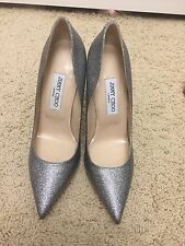 NWOB Jimmy Choo Techno Silver Glitter Pump Size 39 Made In Italy