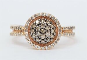 10K Rose Gold 1/2cttw White & Brown Diamond Cluster Halo Open Shank Ring