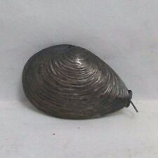 ANTIQUE silver CLAM SHELL TAPE MEASURE