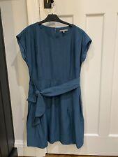 Oliver bonas CERCETA Azul Verde Smart Pajarita Cintura Vestido Talla 10 bolsillos señoras