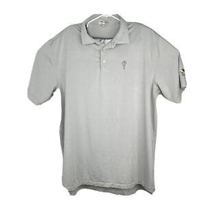 Peter Millar Men's Summer Comfort Performance Golf Polo Shirt Gray Striped • XL