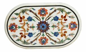 18 x 30 Inches Marble Coffee Table Top Multi Color Gemstones Inlaid Corner table