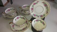 4 Lot Castleton TREE OF INDIA Porcelain Coffee Tea Footed Cup & Saucer