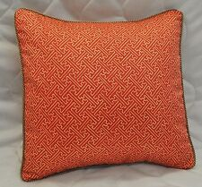 "Pillow made w Ralph Lauren Villa Camelia Red Orange Fretwork Fabric 16"" / cord"
